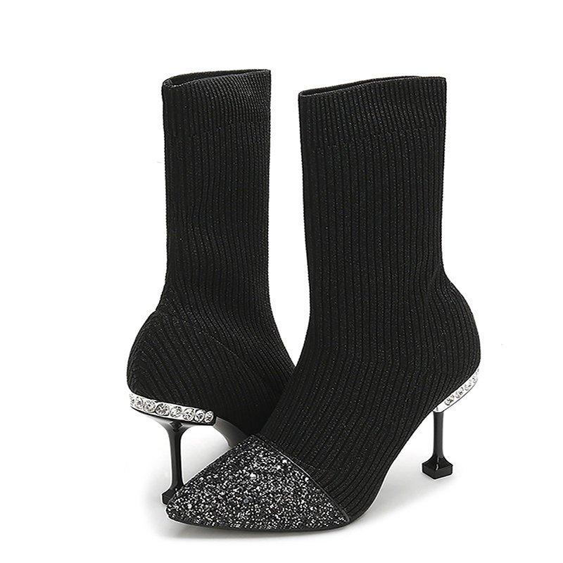 Daily Pointed Toe Cone Heel Knitted Fabric Boots