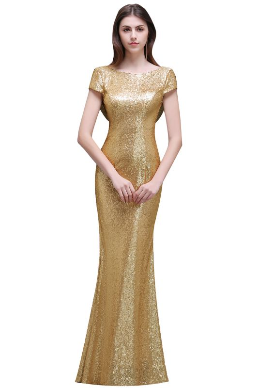 Women Sparkly Rose Gold Long Sequins Bridesmaid Dress On Sale