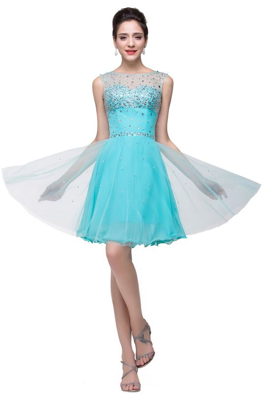 Open Back Sleeveless Chiffon Homecoming Dress Crystal Beads Tulle Short Prom Dress On Sale