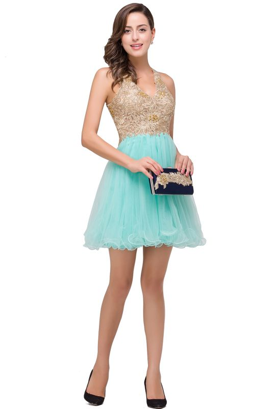 Short Tulle A-line V-Neck Appliques Sleeveless Prom Dress On Sale
