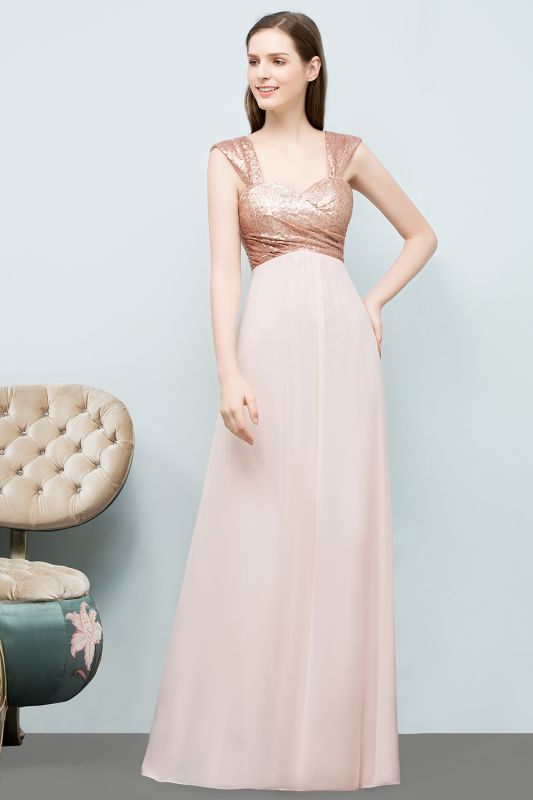 A-line Sweetheart Off-shoulder Spaghetti Long Sequins Chiffon Prom Dress On Sale