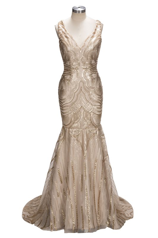 Deep V-neck Champagne Gold Sequins Prom Dresses 2020 Mermaid Sleeveless Sexy Evening Gown FB0007
