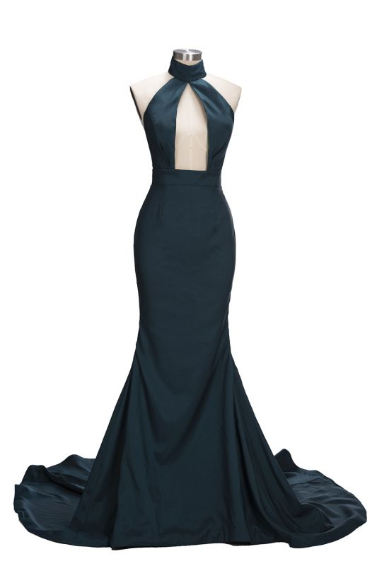 Dark Green Halter Key Hole Evening Dresses Backless 2020 Mermaid Prom Gowns CE0028