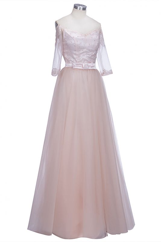 A-line Lace Glamorous Half Sleeves Evening Gown 2020 Cheap Off The Shoulder Tulle Prom Dresses