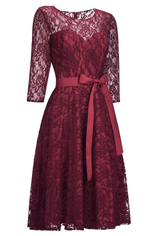 Vintage A-line Burgundy Lace Dress with Sleeves On Sale