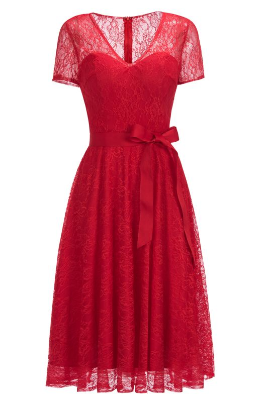 V-neck Short Sleeves Lace Dress with Bow Sash On Sale
