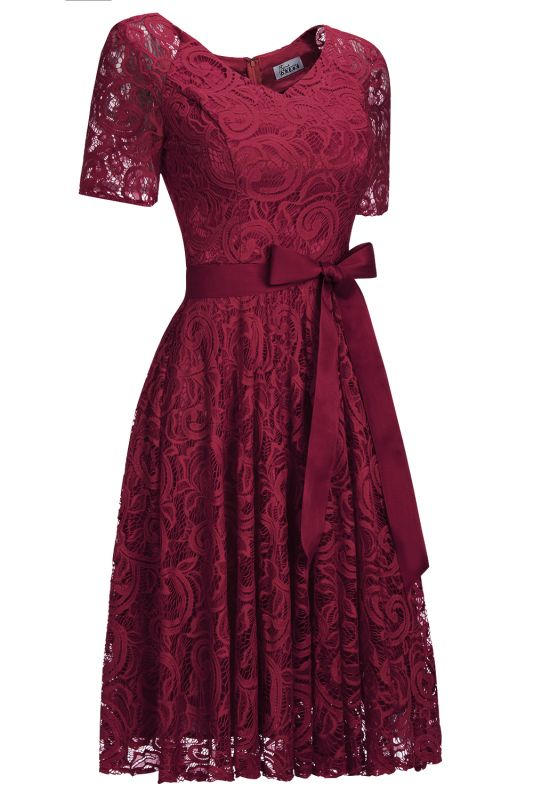Burgundy Lace Short Sleeves Bowknot Christmas Dress CPS1146