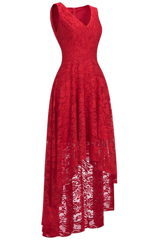 Red Lace Hi-Lo Christmas Party Dress CPS1149