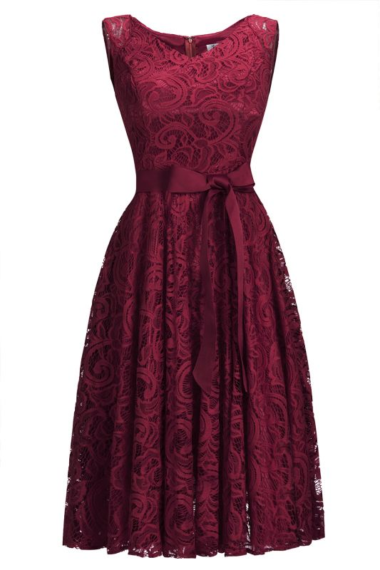 Simple Sleeveless A-line Red Lace Dress with Ribbon Bow On Sale