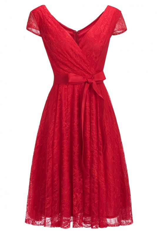 A-line Shoet Sleeves V-neck Lace Dress with Bow Sash On Sale