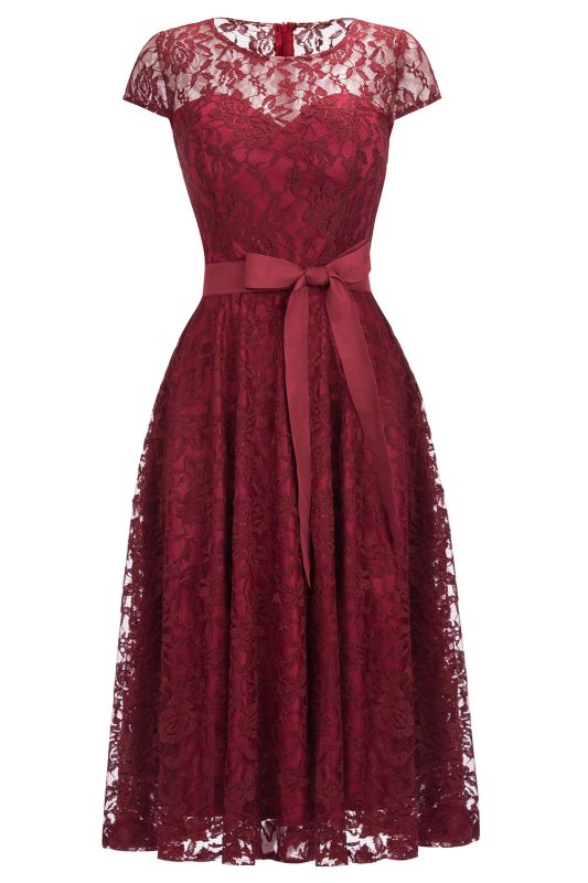 Burgundy Lace Short Sleeves A-line Dress with Bow On Sale