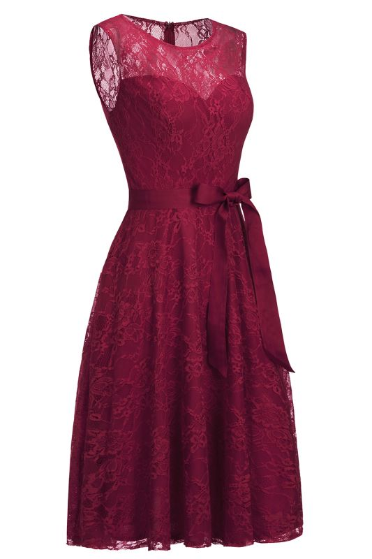 A-line Sleeveless Burgundy Lace Dress with Bow On Sale