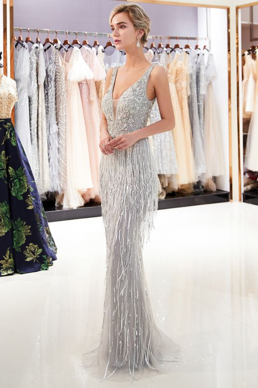 Sexy Silver V-Neck Evening Dresses 2020 | Sequins Sleeveless Sheath Long Formal Gowns