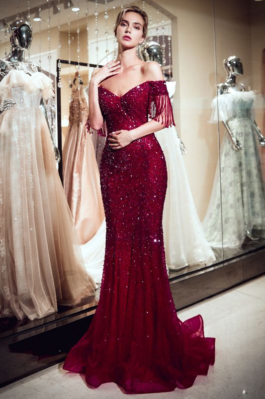 Sparkly Red Crystal Off Shoulder Evening Dresses | 2020 Mermaid Evening Gowns with Tassels