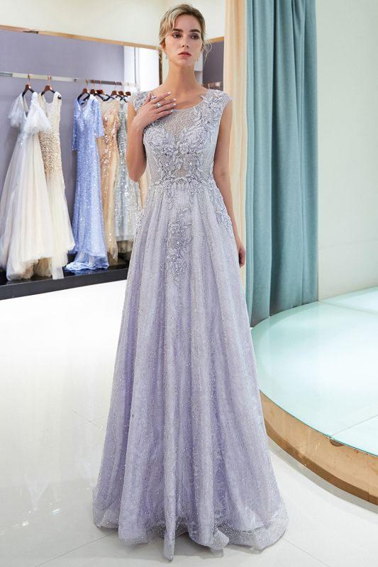 Purple Lace Appliques Crystal Evening Dresses | Elegant Sleeveless Long Evening Gowns Online