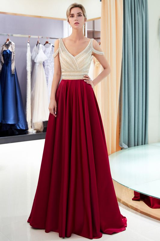 2020 V-Neck Sleeveless Red Evening Dresses   Sexy Crystal Open Back Prom Dress