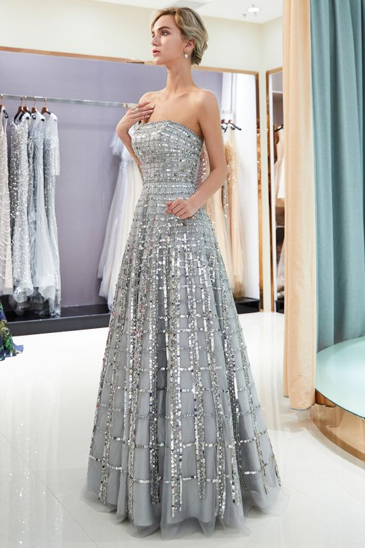 Elegant Strapless A-Line Long Evening Dresses | 2020 Sequins Floor Length Evening Gowns Online