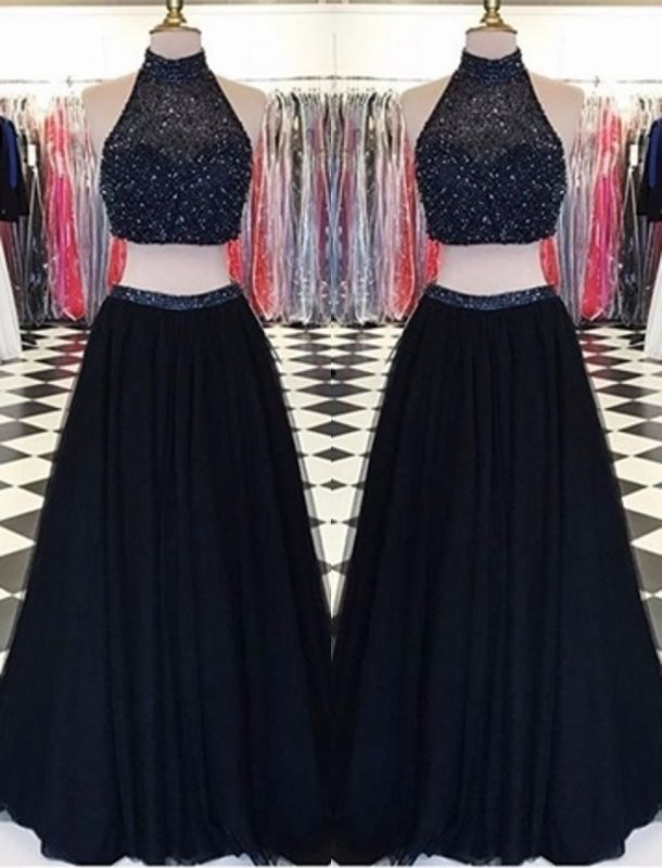 High-Neck Two-Piece Long Beaded A-line Black Prom Dresses