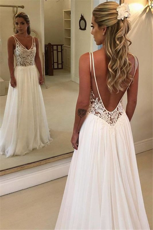 Elegant A-Line Backless Lace Appliques Bridal Gown | Chiffon Sleeveless Slim Wedding Dress