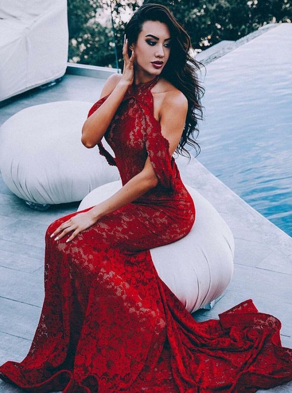 Elegant Burgundy Mermaid Prom Dresses | 2020 Lace Halter Evening Dresses Long