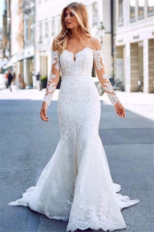 Elegant White Long Sleeves Lace Appliques Prom Dresses | Mermaid Sweep Train 2020 Bridal Gown