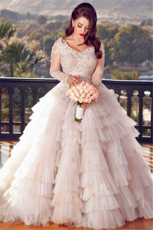 Elegant Long Sleeves Ruffles Bridal Gowns Cheap | V-Neck Ball Gown Appliques Wedding Dresses