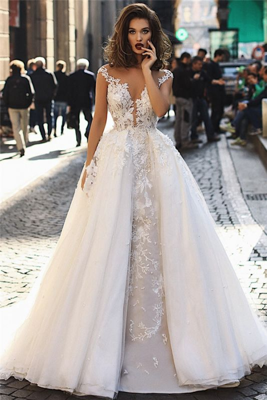 Elegant 2020 A-Line Overskirt Long Wedding Dresses   Sleeveless Lace Appliques Bridal Gown