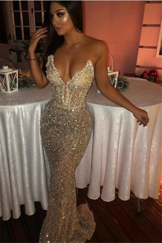 Shiny Sweetheart Sleeveless Floor-Length Prom Dresses | Sequins Mermaid Long Evening Gown 2020 BC1051