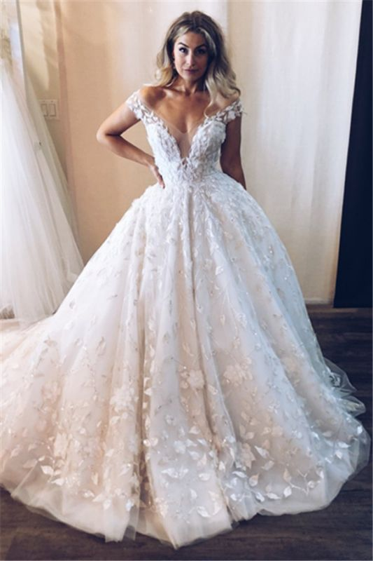 Gorgeous OFF-The-Shoulder Sleeveless Long Wedding Dresses | Appliques Ball Gown 2020 Bridal Gown