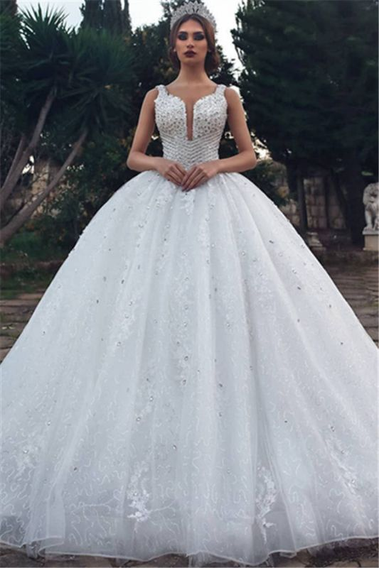 Gorgeous Straps Beading Ball Gown Wedding Dresses | 2020 Tulle Appliques Sleeveless Bridal Gown