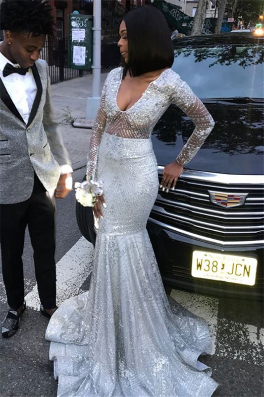 Gorgeous Long Sleeves Silver Mermaid Sweep Train Prom Dresses   Long Sleeves Scoop Appliques Evening Gown BC0871