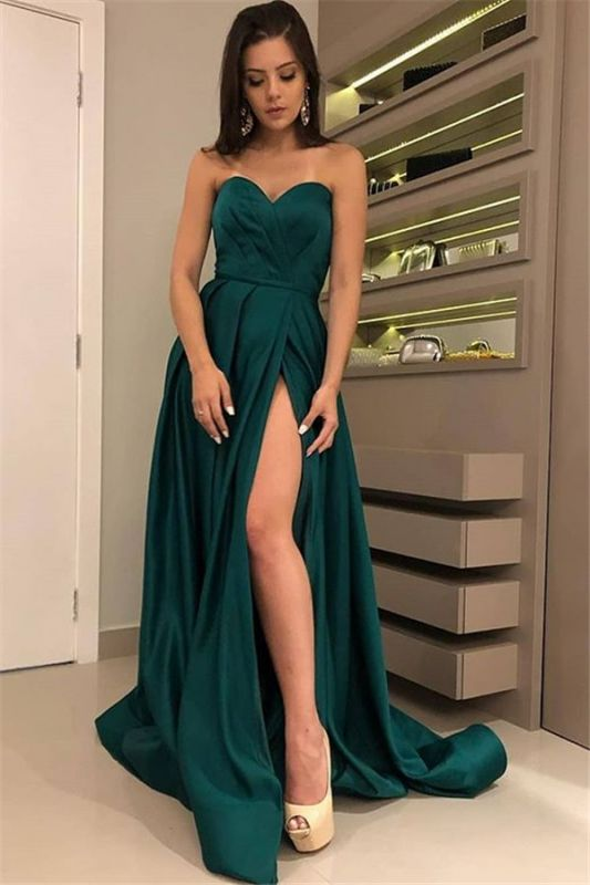 Charming Dark Green Sweetheart Sleeveless Prom Dresses | A-Line Front Split Cheap Evening Gown