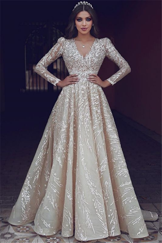 Elegant Long Sleeve V-Neck Wedding Dress Long Bridal Gowns With Lace Appliques