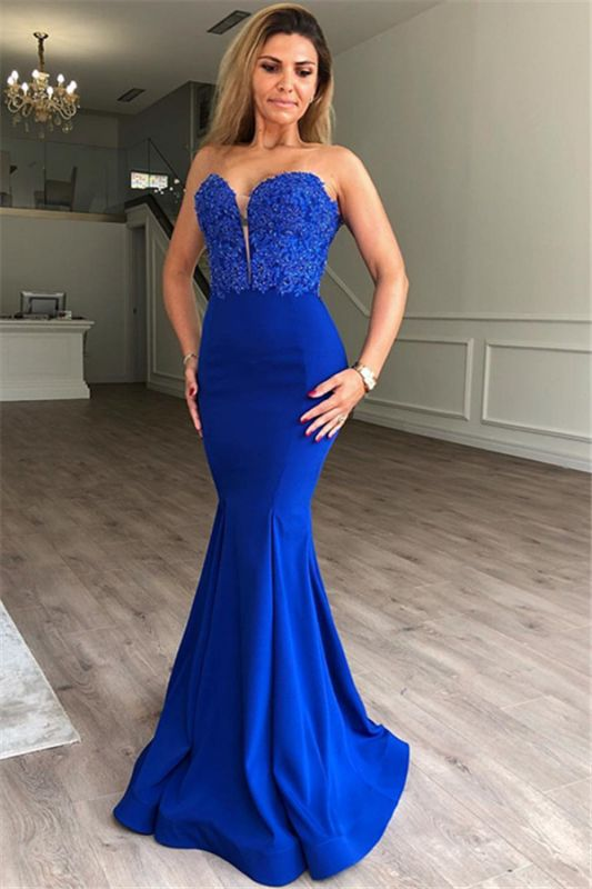 Elegant Sweetheart Mermaid Prom Dresses | Cheap Sleeveless Appliques Evening Gowns