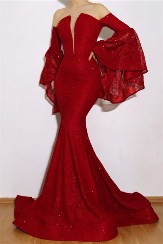 Burgundy Strapless Ruffles Evening Gowns | Luxurious Long-Sleeves Mermaid Prom Dresses