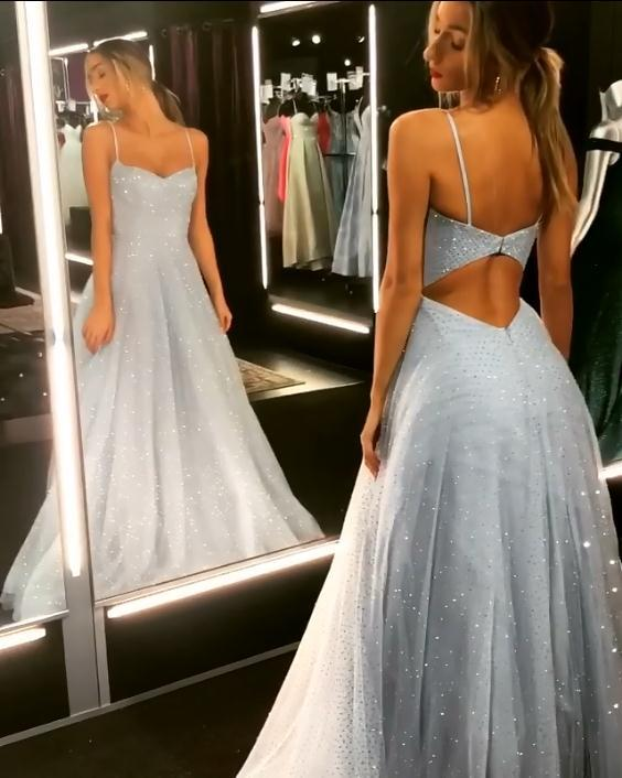 Open Back Spaghetti Strap Sequin Prom Dresses Cheap | 2020 Ice Blue Sexy Evening Gowns