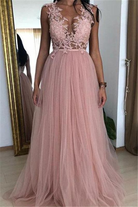 Cheap Straps Appliques Tulle Party Dresses | Newest Sleeveless Pink A-Line Prom Dresses