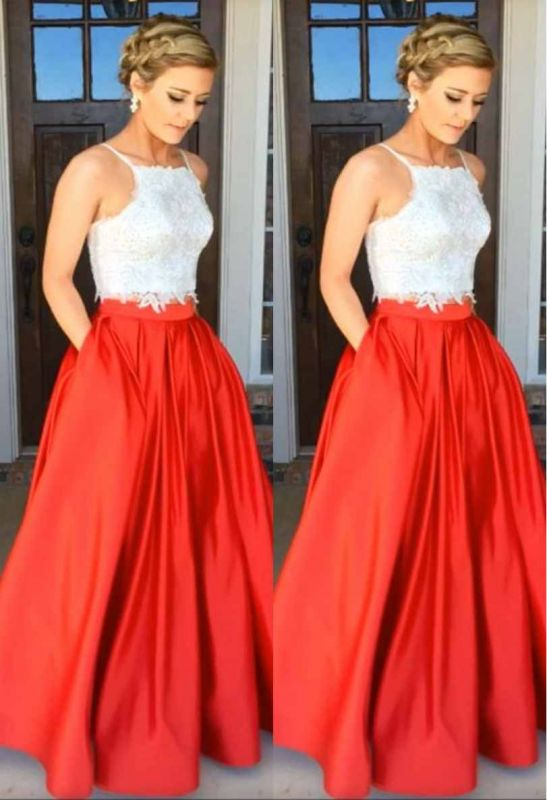 Lace A-Line Two-Piece Glamorous Prom Dress