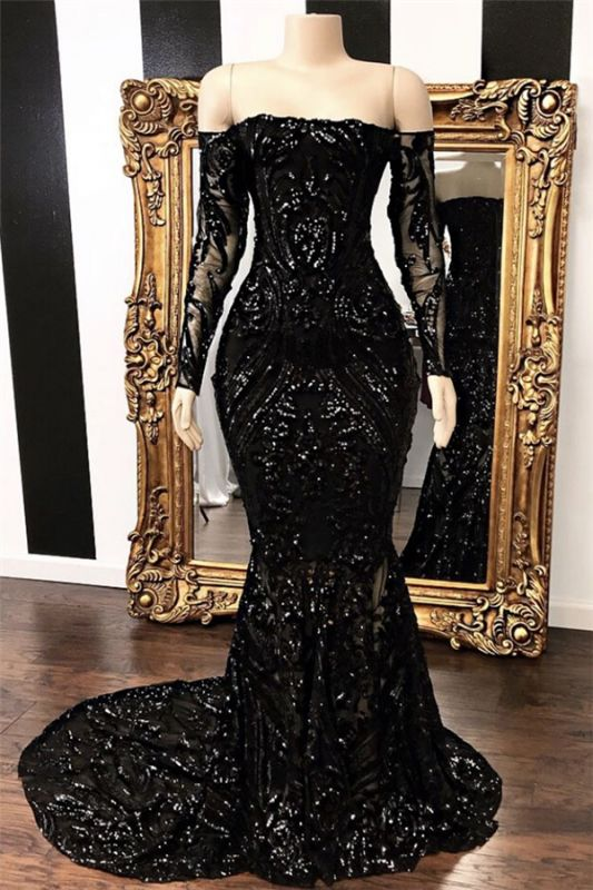 Sexy Black Long Sleeve Prom Dress Mermaid Sequins Evening Gowns