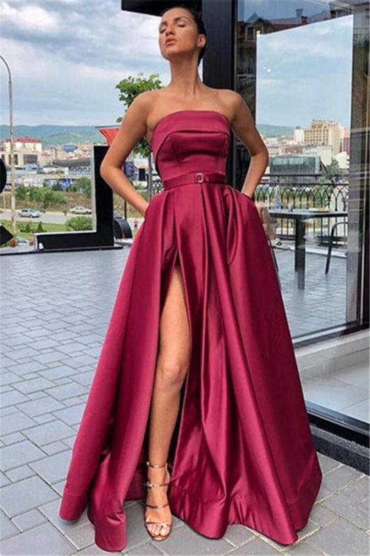 Burgundy Strapless A-Line Evening Gown | Sexy Side-Slit Sleeveless Prom Gown