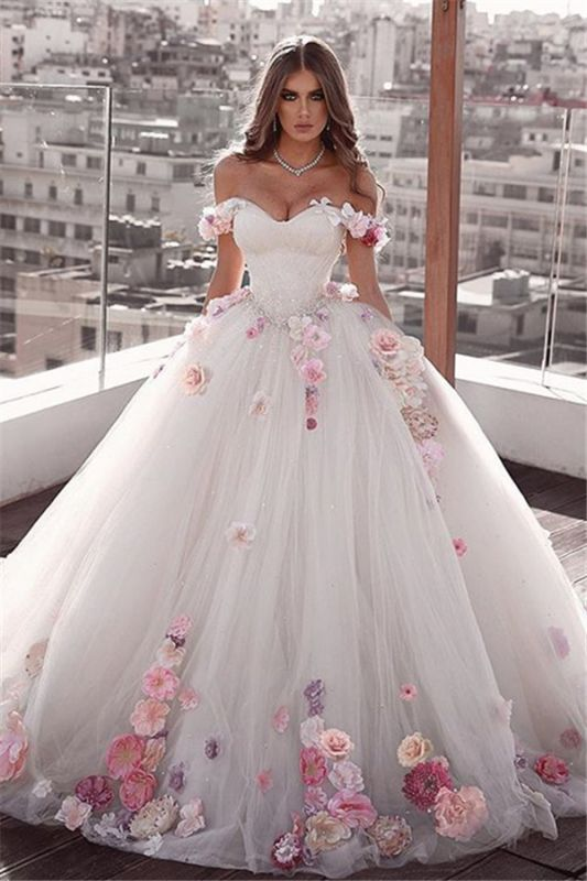 Glamorous Weeding Flowers Off-the-shoulder A-Line Dresses