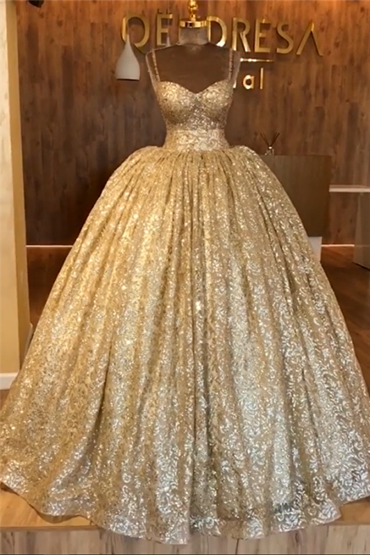 Spaghetti Straps Ball Gown Evening Dress Cheap | Gold Sparkle Sequins Luxury Formal Dress 2020 BC0826