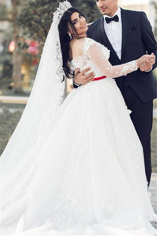 White Long Sleeves Tulle Wedding Dresses | Long A-Line Lace Brial Gowns 2020