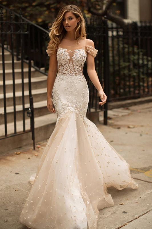 2020 Mermaid Off-the-Shoulder Wedding Dress | Tulle Appliques Bridal Gowns WW0104