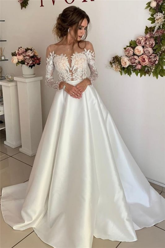 Floor-Length Lace A-line Attractive Long-Sleeves Wedding Dresses