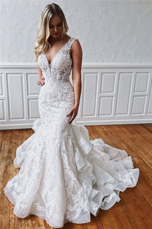 Excellent Sleeveless Ruffled Ivory V-neck Mermaid Appliques Wedding Dresses