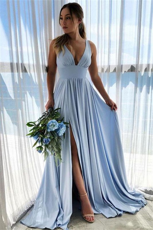 V-neck A-line Ruffles Baby Blue Cheap Long Bridesmaid Dresses Sexy with Ruffles