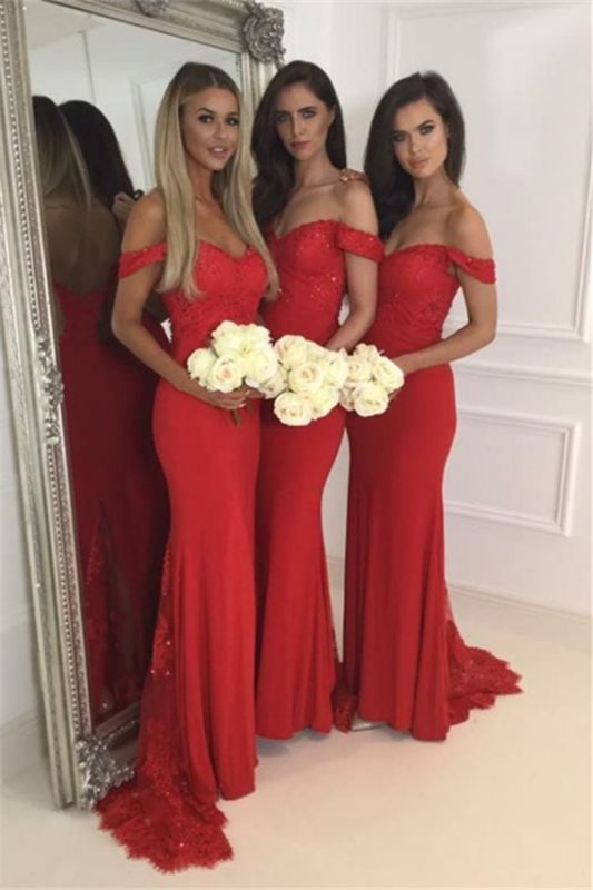 Red Lace Off The Shoulder Evening Dress 2020 Long Cheap Bridesmaid Dresses BA4787
