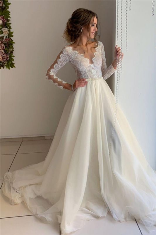 Lace A-line Floor-Length Long-Sleeves V-neck Wonderful Wedding Dresses