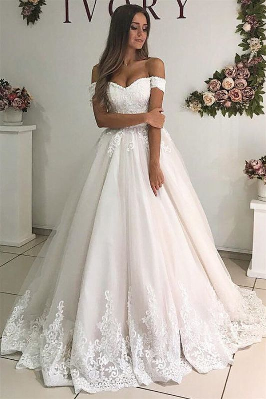 Appliques Off-the-shoulder Elegant A-line Floor-Length Wedding Dresses